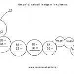 Matematica: operazioni in riga e in colonna
