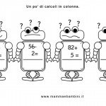Matematica scheda con operazioni in colonna