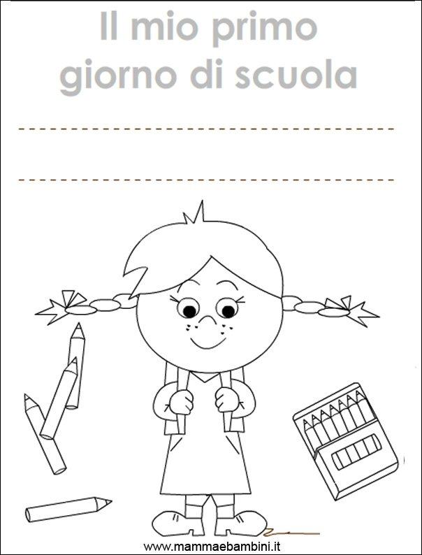 copertina primo giorno scuola da colorare