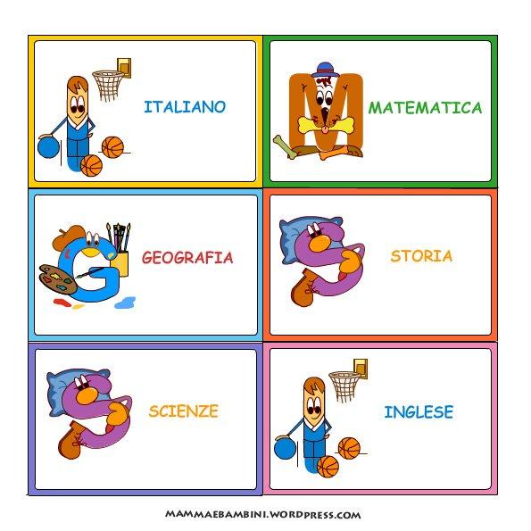 Etichette per la scuola mamma e bambini - Libri da colorare gratuiti da stampare ...