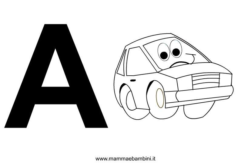 Lettere dell'alfabeto da stampare con disegni