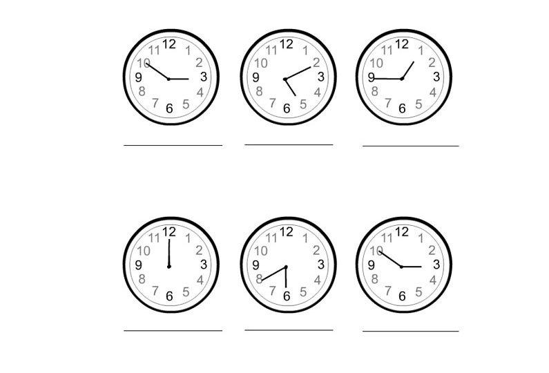 esercizi con l orologio per bambini