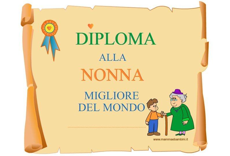 Auguri Matrimonio Nonna : Diploma per la nonna da stampare mamma e bambini