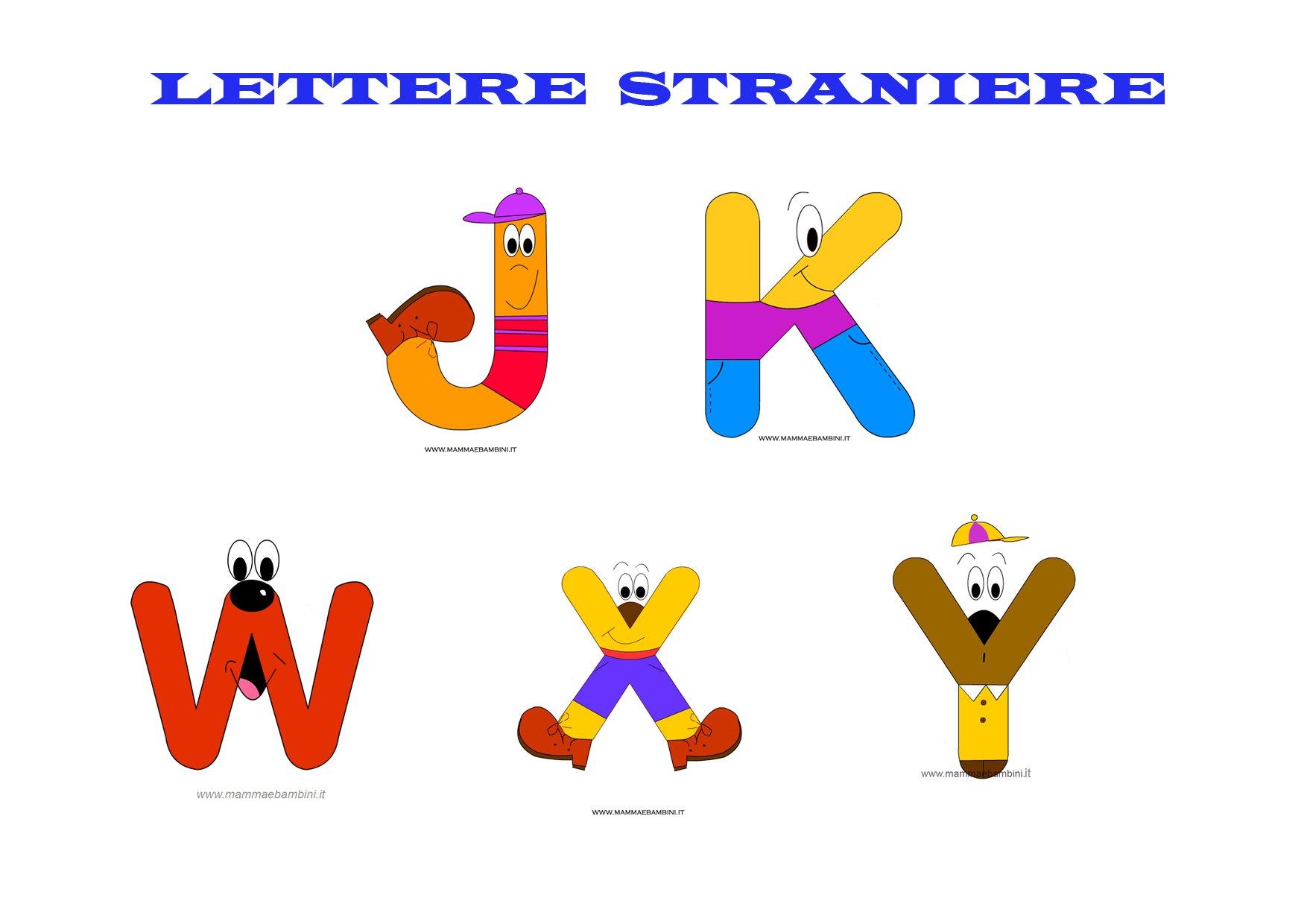 Lettere Alfabeto Da Copiare le 5 lettere straniere da stampare e colorare - mamma e bambini