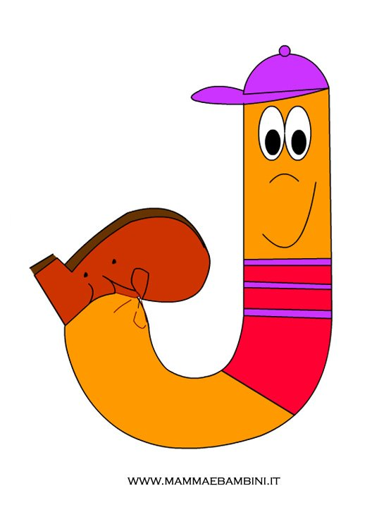 Lettere alfabeto da stampare: lettera J