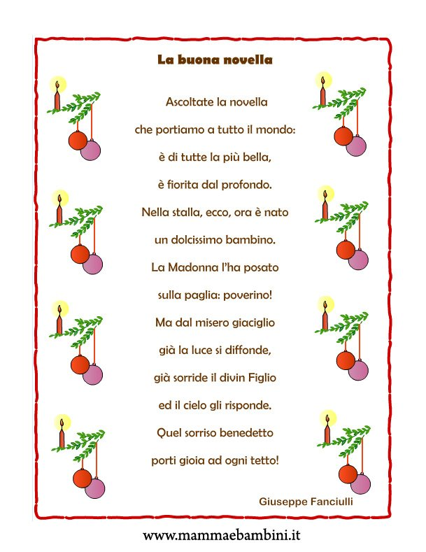 Poesie Di Natale Prima Elementare.Poesia Natale Con Cornice La Buona Novella Mamma E Bambini