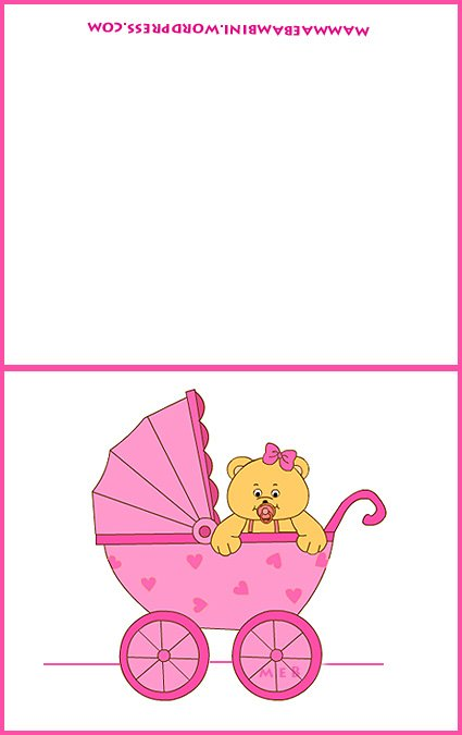 Biglietto per battesimo e nascita carrozzina rosa mamma for Neonati da colorare e stampare