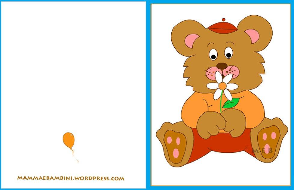 Biglietto auguri compleanno: orso con fiore celeste