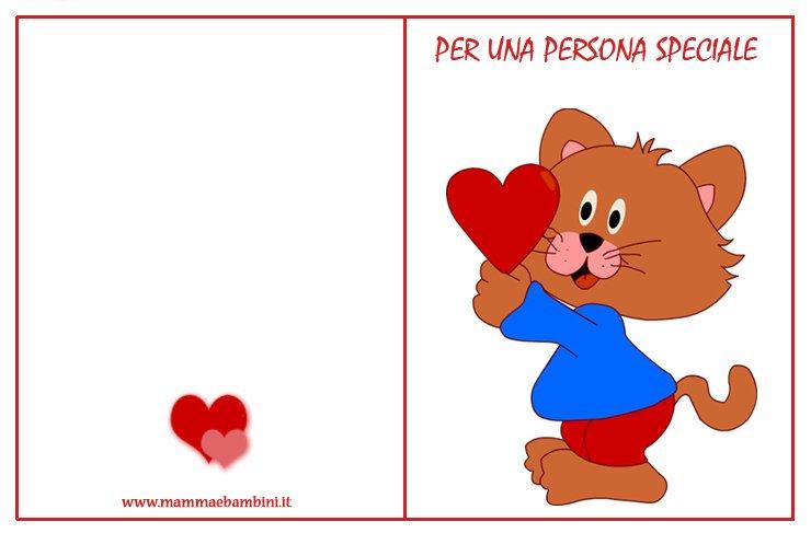 Biglietti da stampare san valentino gatto con cuori for Bigliettini di natale da colorare