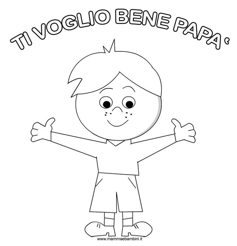 Disegno per festa del pap da stampare e colorare mamma for Immagini festa del papa da colorare