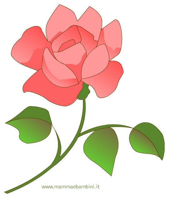 Disegno di una rosa per la festa della mamma mamma e bambini - Immagini da colorare di rose ...