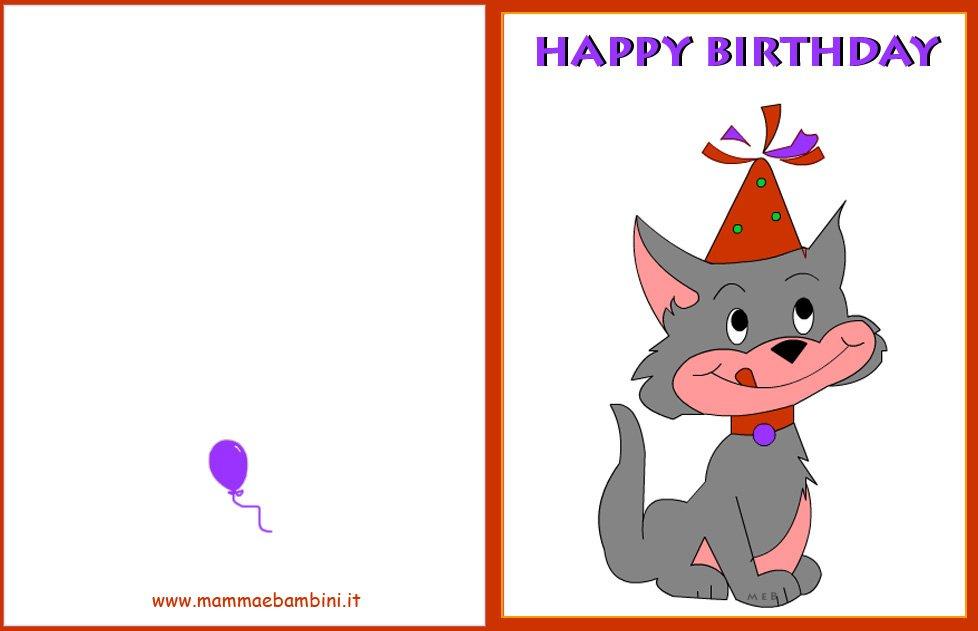 Biglietto Auguri Compleanno Gatto Con Cappellino Mamma E Bambini