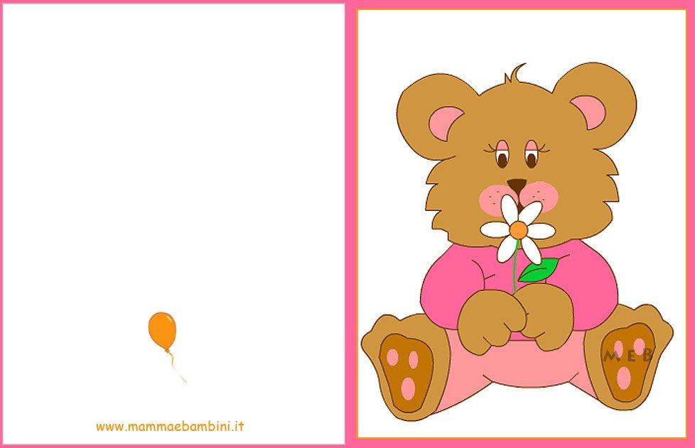 Biglietto Con Rosa Da Colorare: Biglietto Auguri Compleanno:orso Con Fiore Rosa