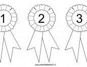 Coccarda da colorare con numeri 1, 2 e 3