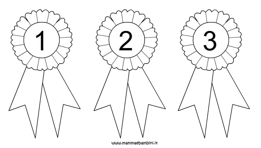 Coccarda da colorare con numeri 1 2 e 3 mamma e bambini for Disegni da stampare colorare e ritagliare