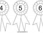 Coccarda da colorare con numeri 4, 5 e 6