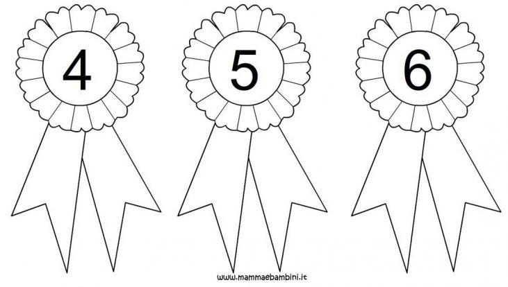 Coccarda Da Colorare Con Numeri 4 5 E 6 Mamma E Bambini
