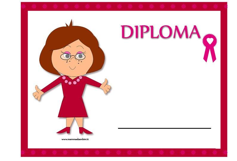 Diploma per la maestra di fine anno scolastico