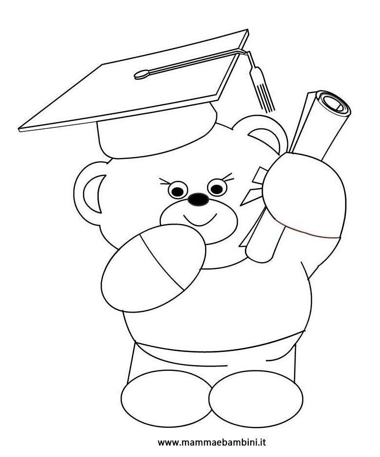 Disegno da colorare un orsetto con diploma mamma e bambini - San valentino orso da colorare pagine da colorare ...