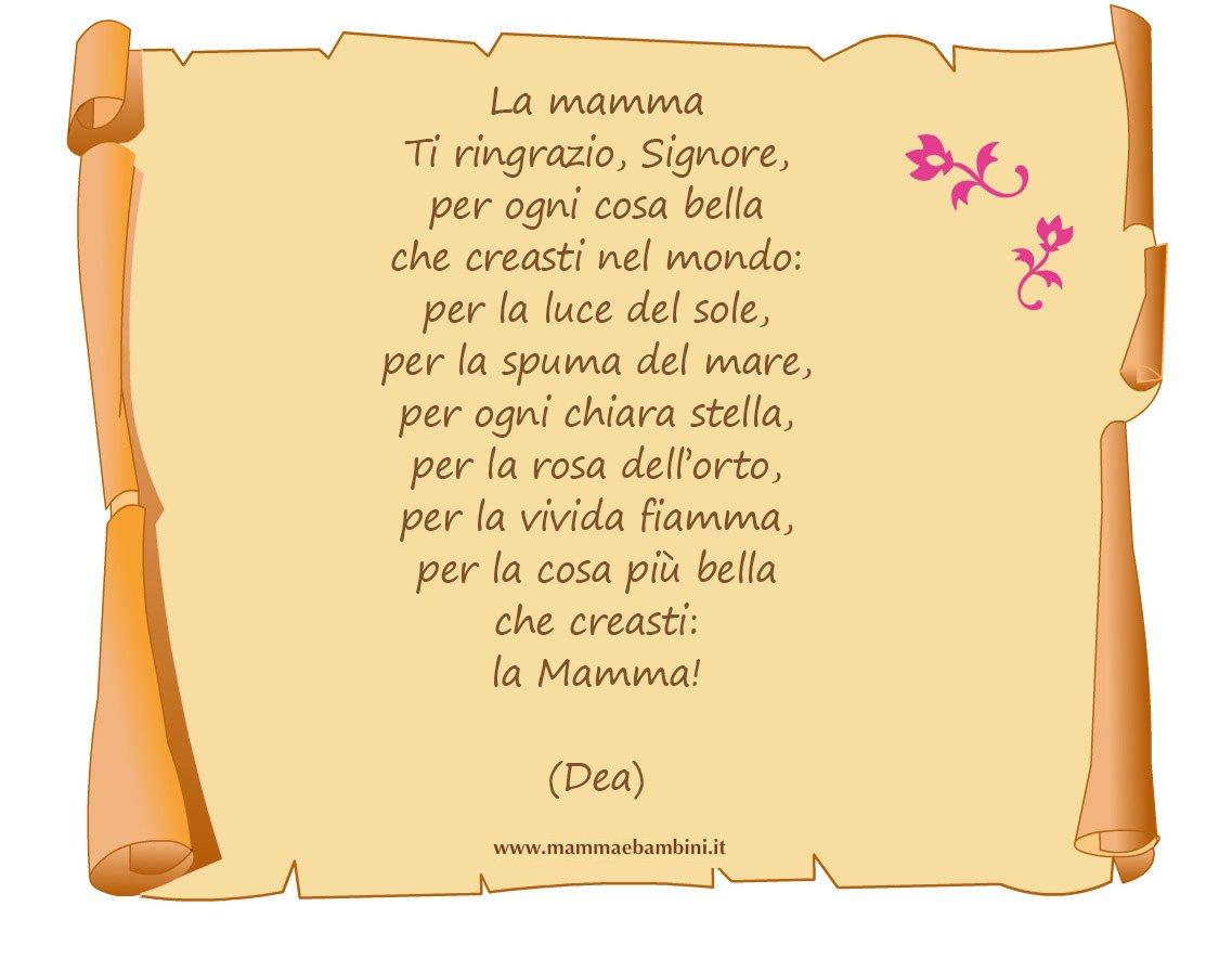 Poesia La mamma con cornice