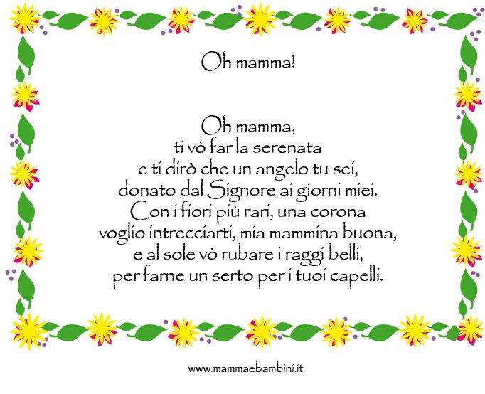 Poesia dal titolo Oh mamma