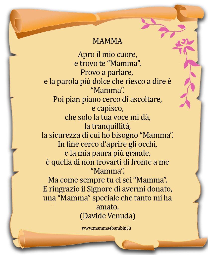 Poesia sulla mamma con cornice Mamma