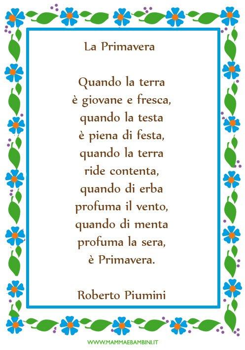 Poesia sulla primavera con cornice mamma e bambini - Poesie primaverili per la scuola materna ...