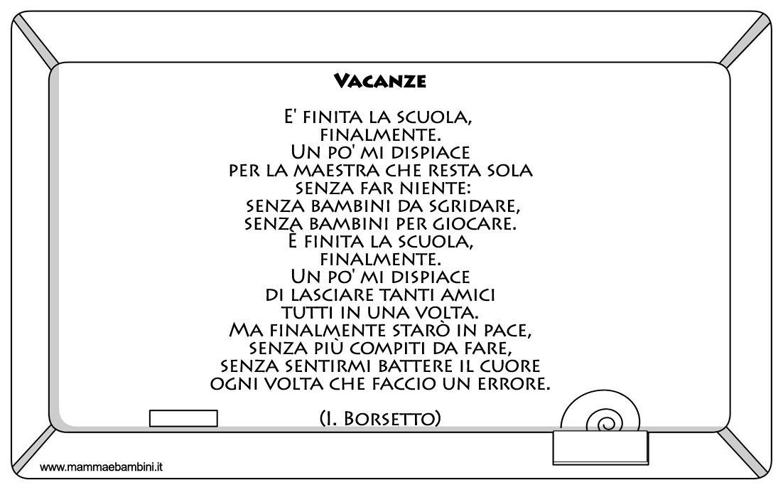 Poesia fine anno scolastico vacanze mamma e bambini - Poesie primaverili per la scuola materna ...