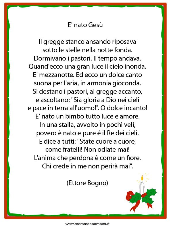 Poesia sul Natale con cornice: E' Nato Gesù