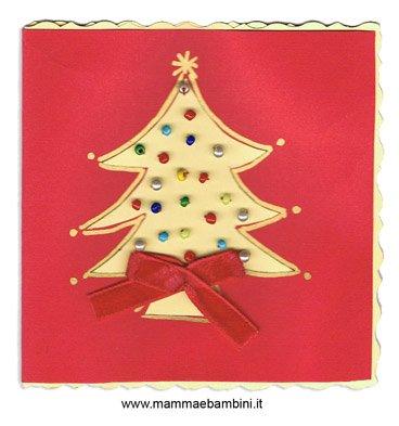 Biglietto Auguri Di Natale Con Le Perline Mamma E Bambini