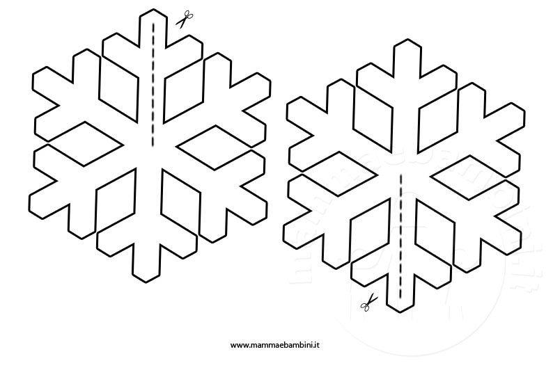Addobbi con fiocchi di neve mamma e bambini for Fiocco di neve da ritagliare