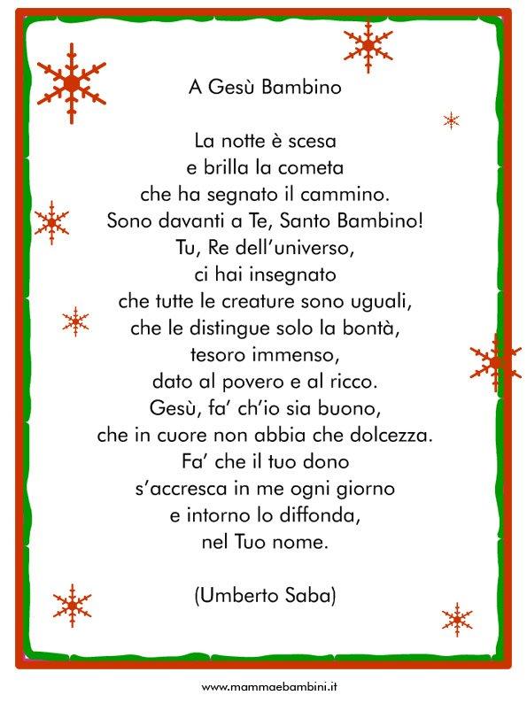 Poesia A Gesù Bambino in cornice