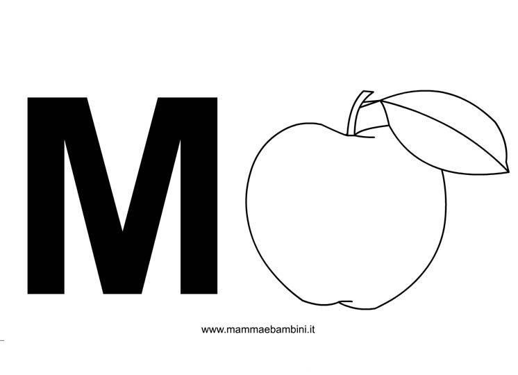 Lettere alfabeto con disegni: la M