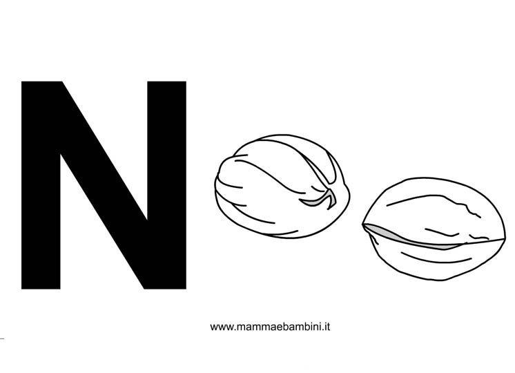 Lettere alfabeto con disegni: la N