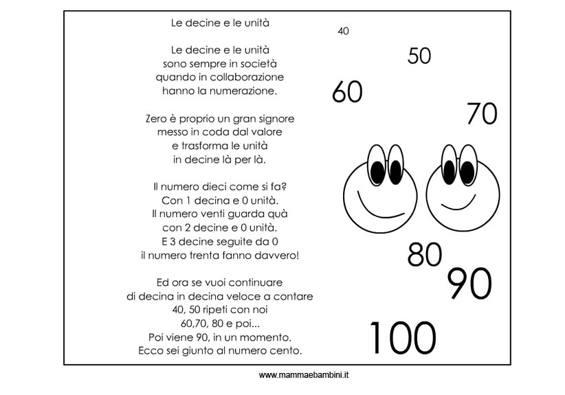 Esercizi matematica: decine e unità n.1