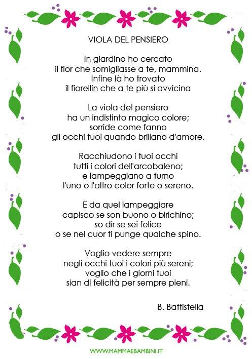 Poesia sulla mamma dal titolo Viola del pensiero