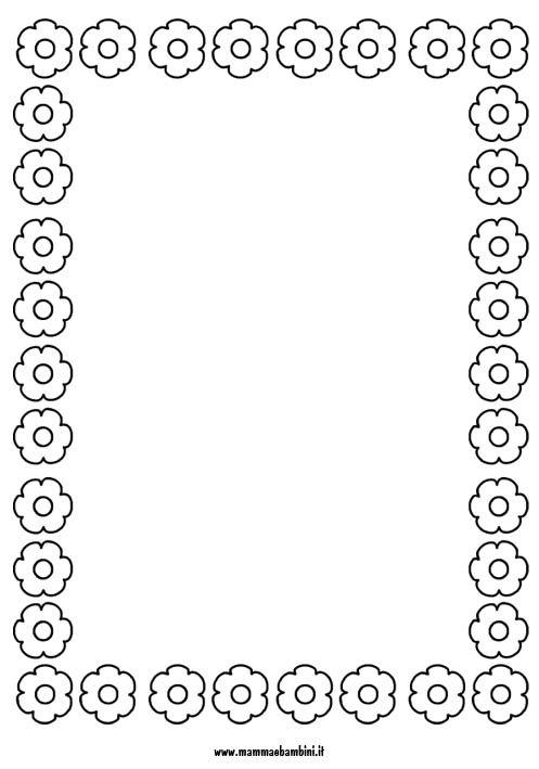 Cornicetta con fiori da stampare e colorare