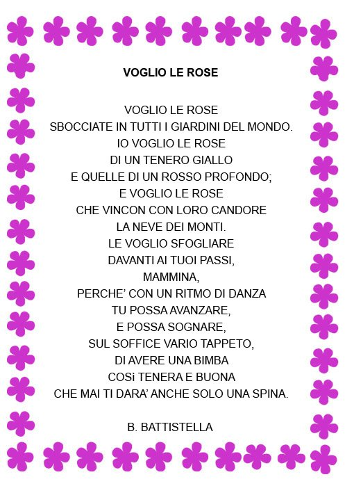 Poesia per la mamma voglio le rose mamma e bambini for Colorare le rose