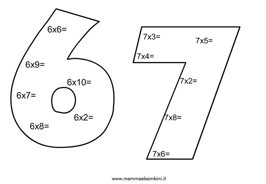 Esercizi sulla tabellina del 6 e del 7