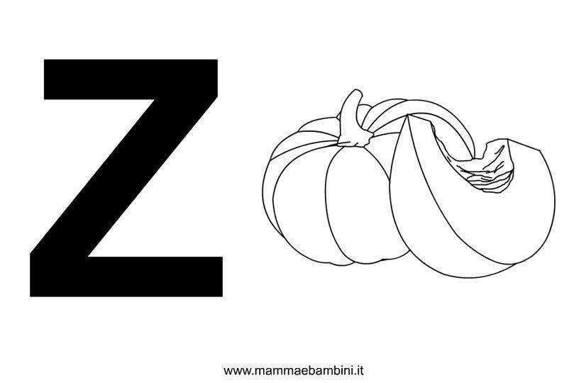Lettere alfabeto con disegni: la Z