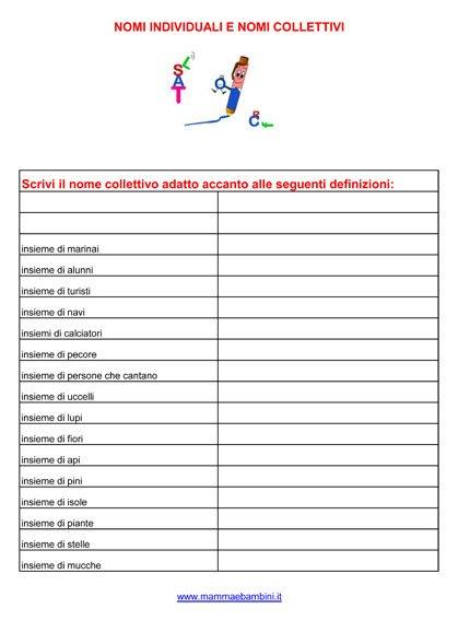 Grammatica nomi collettivi e nomi individuali mamma e for Giardino e nome collettivo