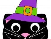 Disegno gatto con cappello per Halloween
