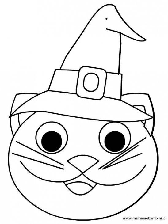 Faccia Gatto Da Colorare Per Halloween Mamma E Bambini