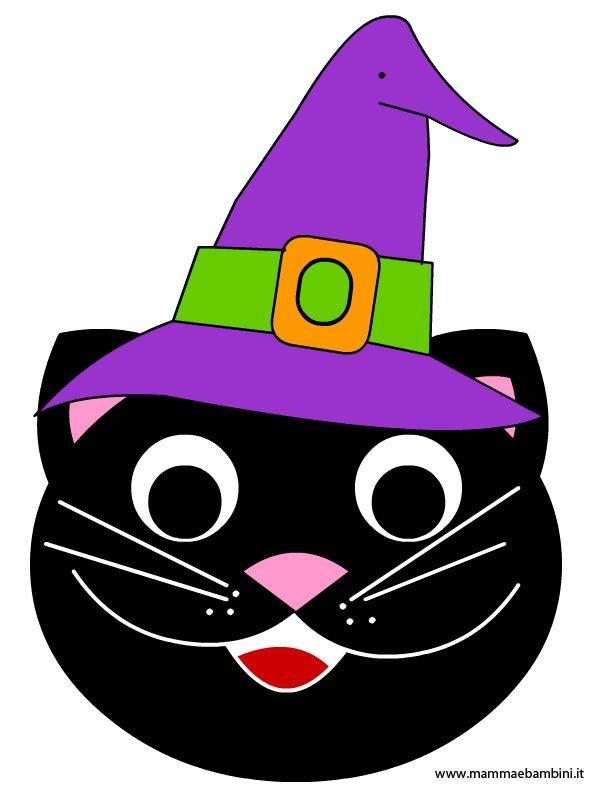 Disegno gatto con cappello per halloween mamma e bambini for Immagini gatti da colorare