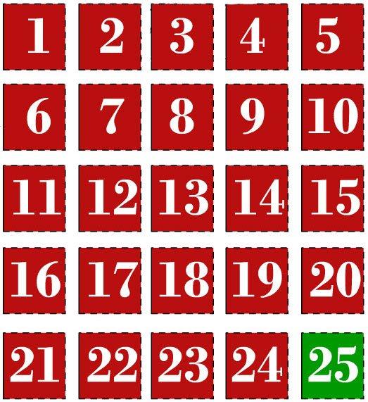 Numeri Per Calendario Avvento.Numeri Per Calendario Da Stampare