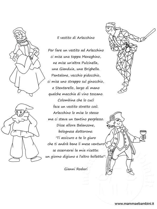 Poesia Il Vestito Di Arlecchino Con Disegni Delle Maschere Mamma E