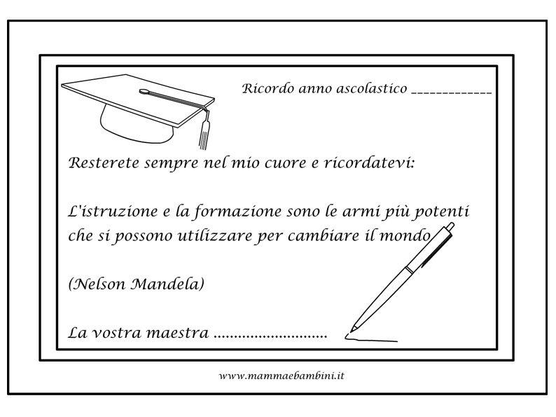 Biglietto Maestra Con Frase In Inglese Mamma E Bambini