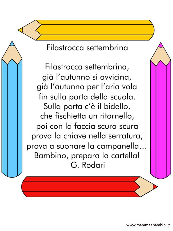 Filastrocca Per Bambini Sullinizio Della Scuola Mamma E Bambini