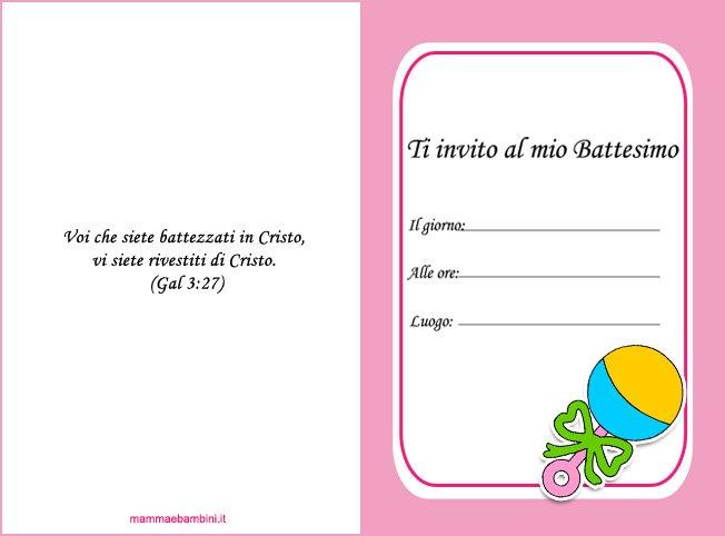 Biglietto invito battesimo bambina