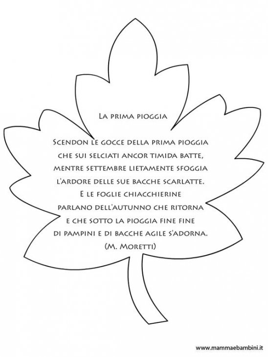 Foglia Autunno Da Colorare Con Poesia Mamma E Bambini